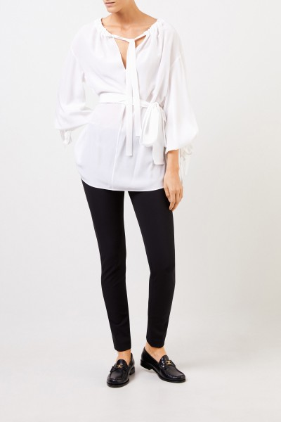 Silk blouse with tie detail White