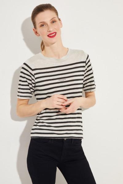 Gestreiftes T-Shirt Schwarz/Grau