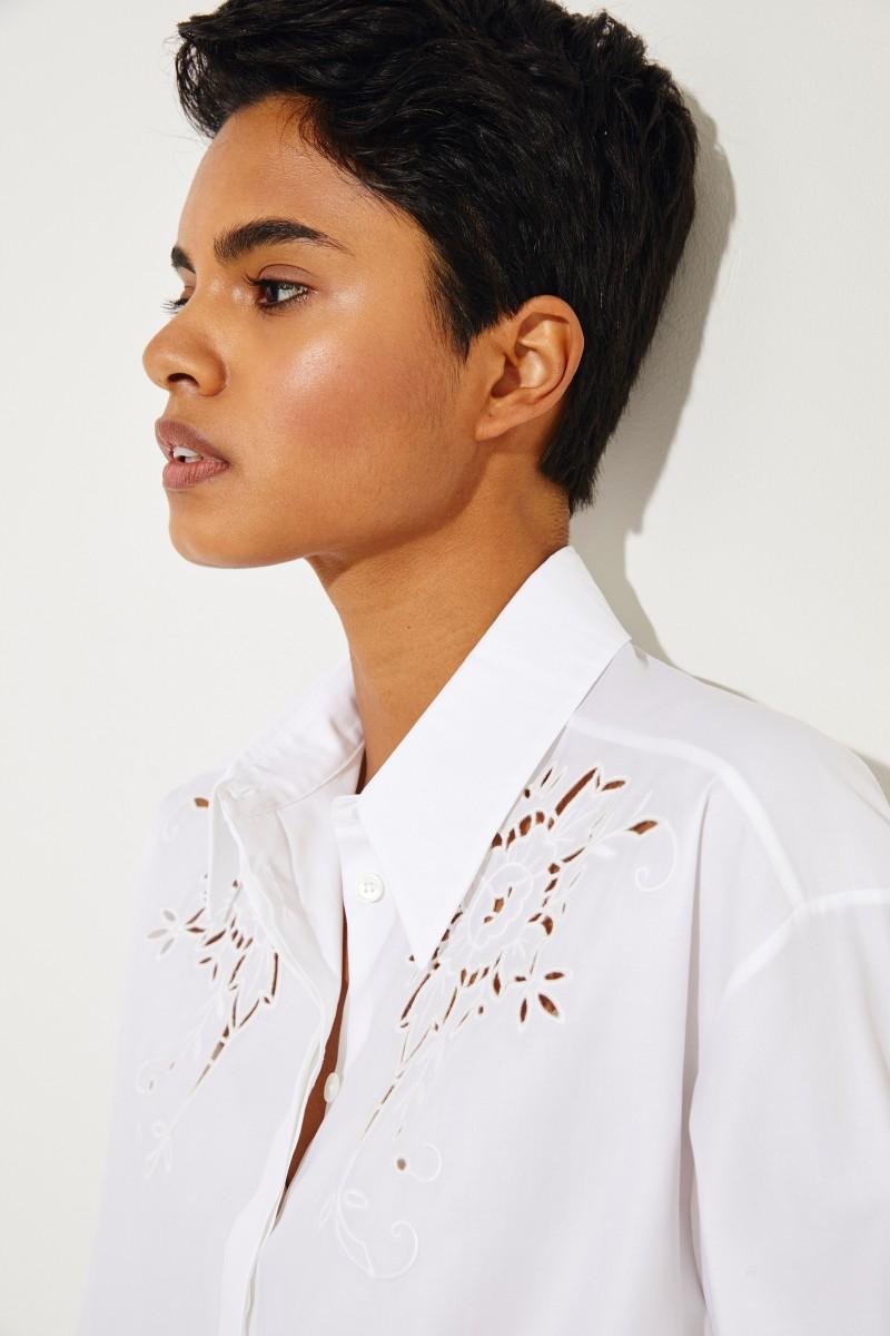 Baumwoll-Bluse mit floraler Spitze Weiß