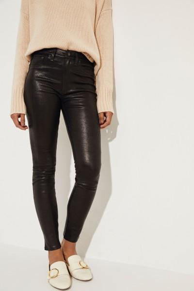High Rise Leather Pants Black