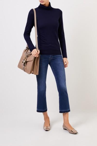 Woll-Pullover mit Turtleneck Marineblau