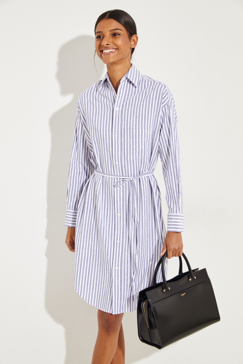 94bb16ec8383 Striped shirt blouse dress White Blue