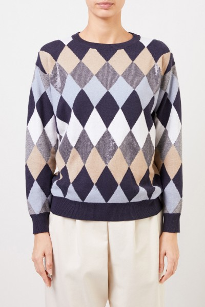 Brunello Cucinelli Woll-Pullover mit Karomuster Blau/Multi