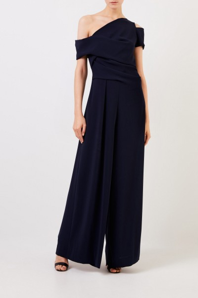 Talbot Runhof One shoulder jumpsuit Navy Blue