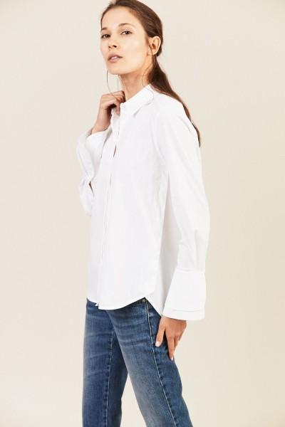 Bluse mit Ärmelsaum-Details Weiß