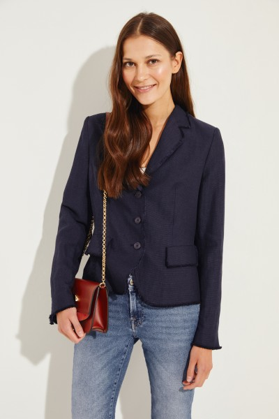 Leinen-Baumwoll-Blazer 'Lindsey' Marineblau