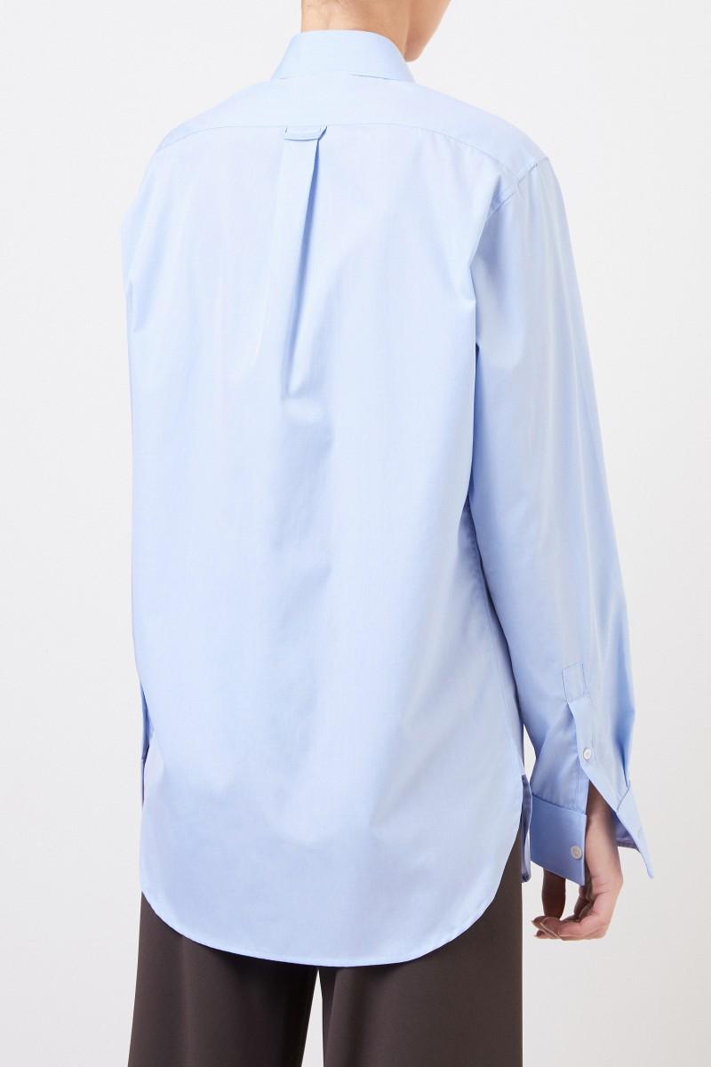 Klassische Baumwoll-Bluse Hellblau
