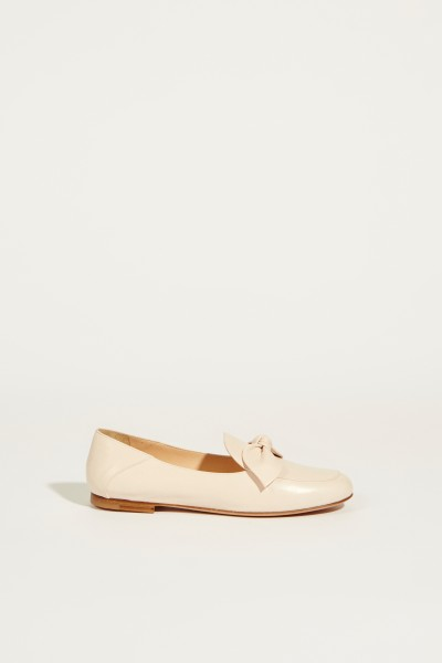 Leather slipper with knot detail Cream/Rose