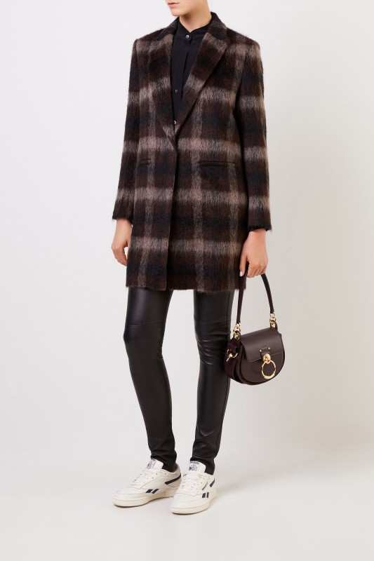 Fabiana Filippi Alpaca wool coat with checked pattern Brown/Multi