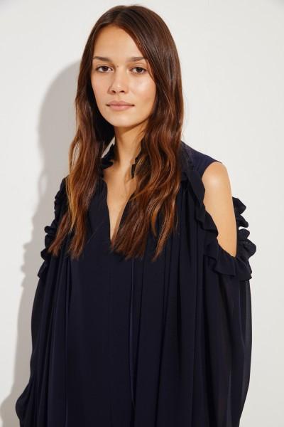 Chloé Silk dress with ruffles Navy blue