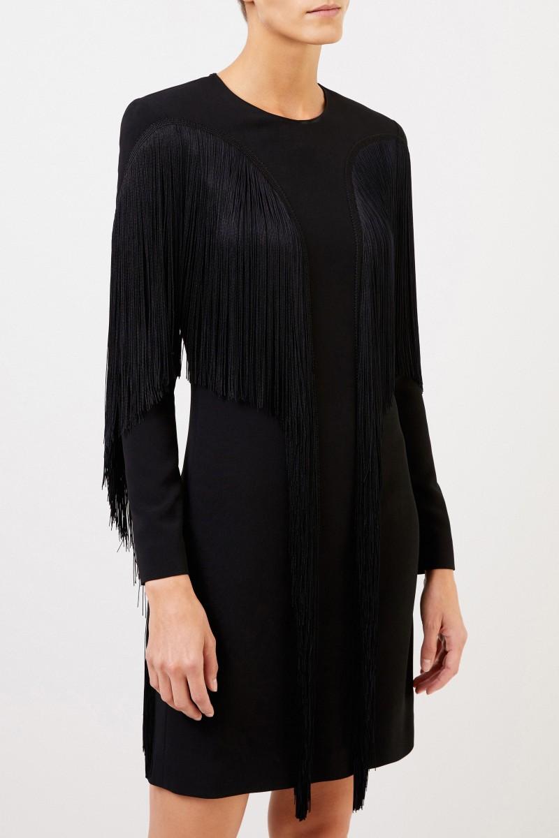 Stella McCartney Kurzes Kleid mit Fransen Schwarz