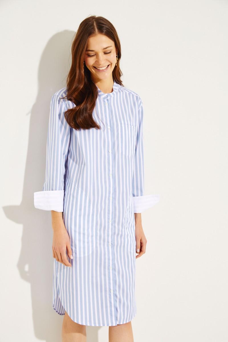 Gestreifte Hemdblusenkleid Blau/Weiß