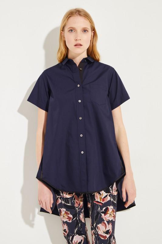 Bluse mit verkürzter Front Marineblau