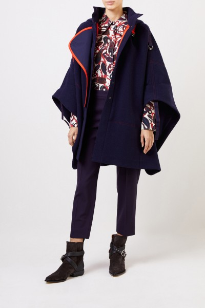 Chloé Wool cape with hood Evening Blue