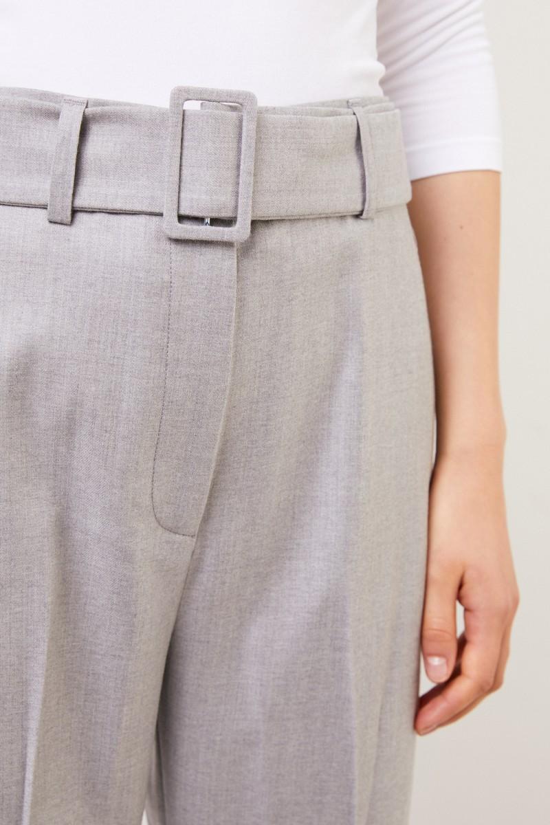 Fabiana Filippi Woll-Hose mit Gürtel Grau Melange