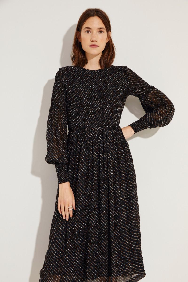 Midi-Kleid 'Georgette' mit floralem Print Schwarz
