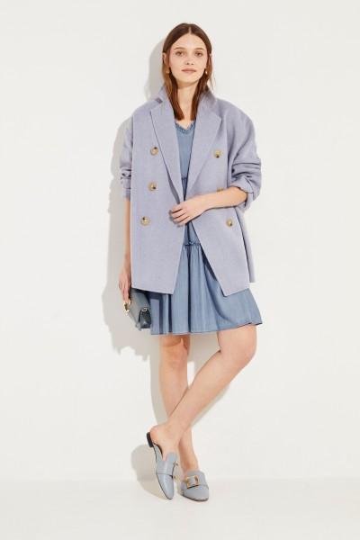 Jeans-Kleid mit Rüschendetails Blau