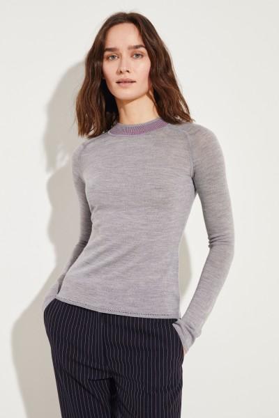 Woll-Pullover Grau/Violett