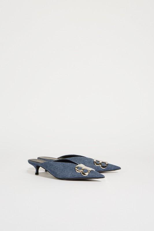 Pantolette mit Kitten-Absatz Blau