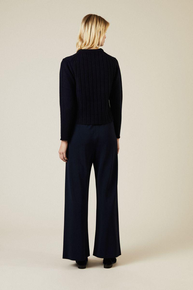 Rippstrick-Cashmere-Pullover Marineblau
