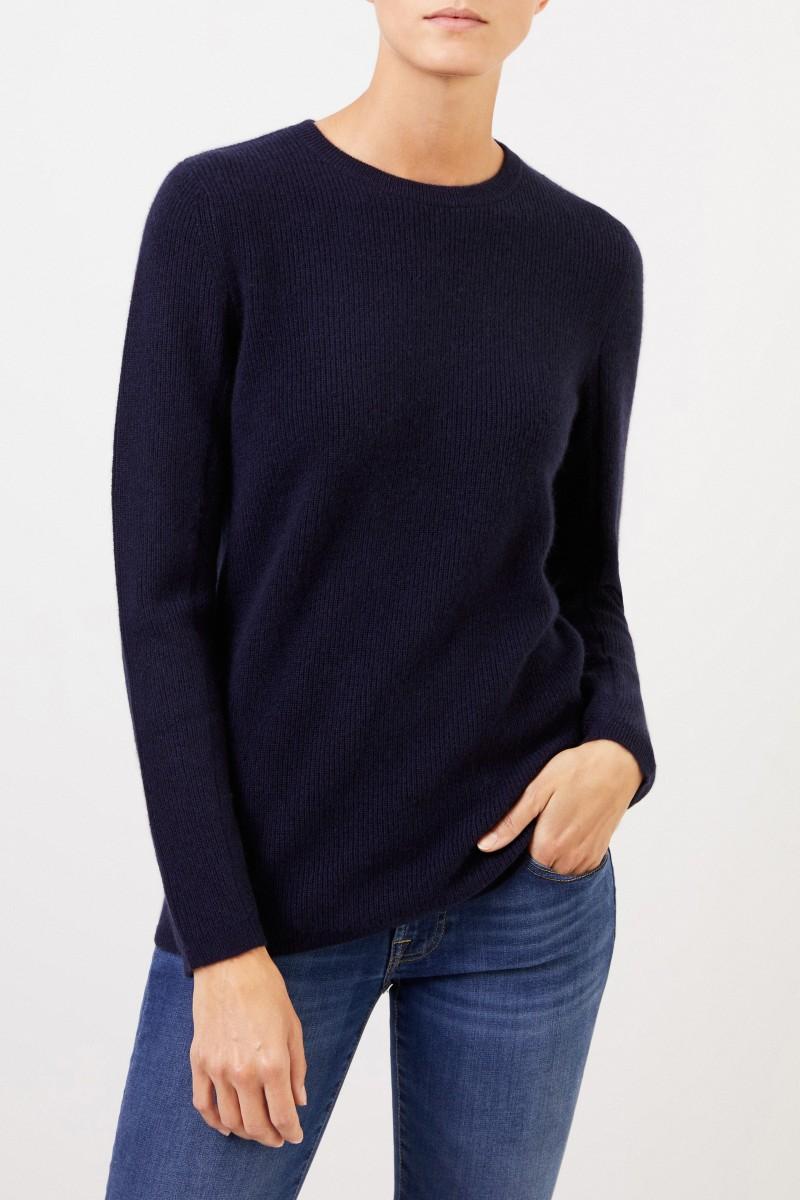 UZWEI Cashmere-Pullover mit Mesh-Strick Marineblau