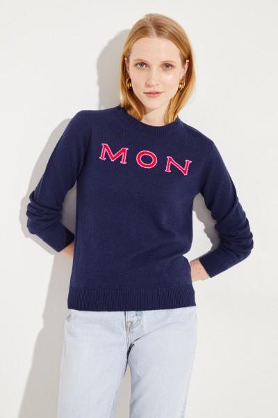 Cashmere-Pullover mit Logo-Schriftzug Marineblau