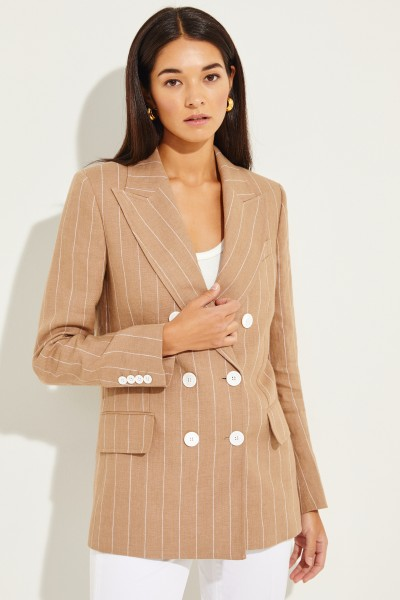 Striped linen blazer Beige/White