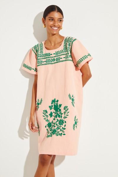 Baumwoll-Leinen-Kleid 'San Pedro' mit Stickerei Orange/Grün