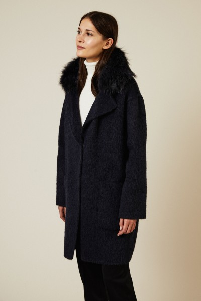 Alpaca-Woll-Mantel mit Pelzkragen Blau