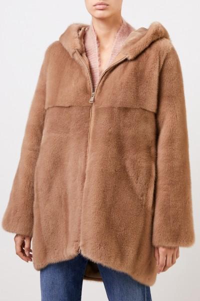 Manzoni 24 Mink coat with hood Brown