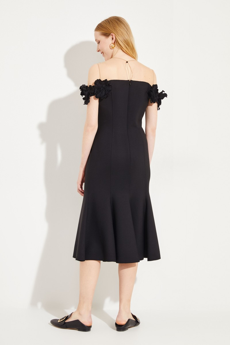 Woll-Abendkleid mit Netzdetail Schwarz/Nude