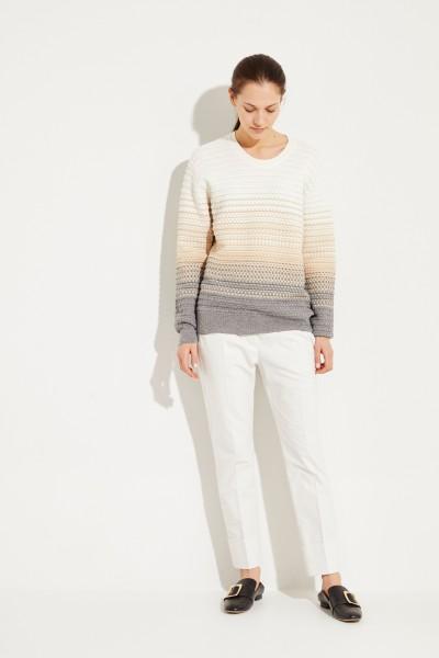 Woll-Pullover mit Strickmuster Beige/Grau