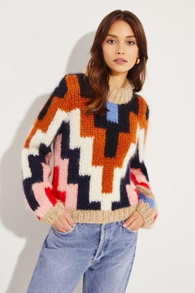 Gemusterter Woll-Mohair-Pullover Multi