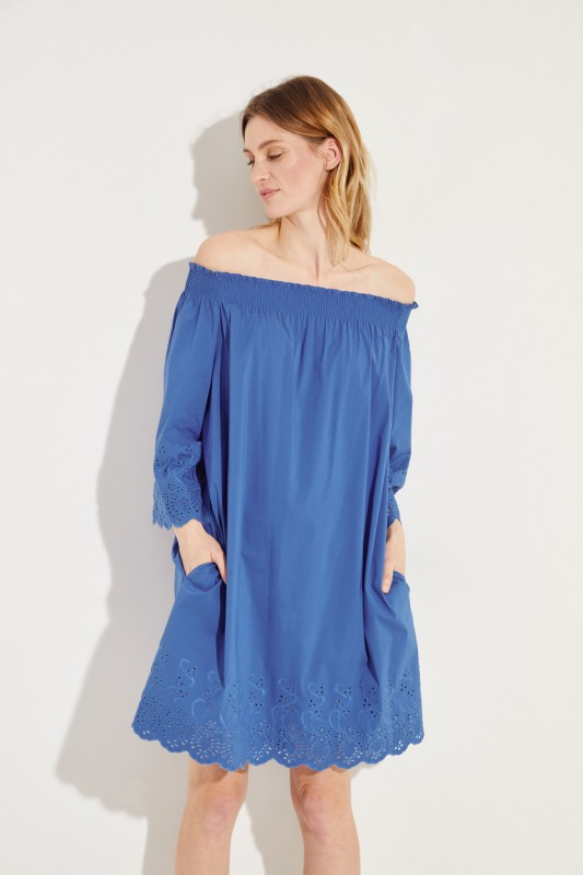 Off-Shoulder Kleid mit Stickerei Blau
