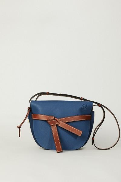 Handtasche 'Gate Bag' Blau/Cognac