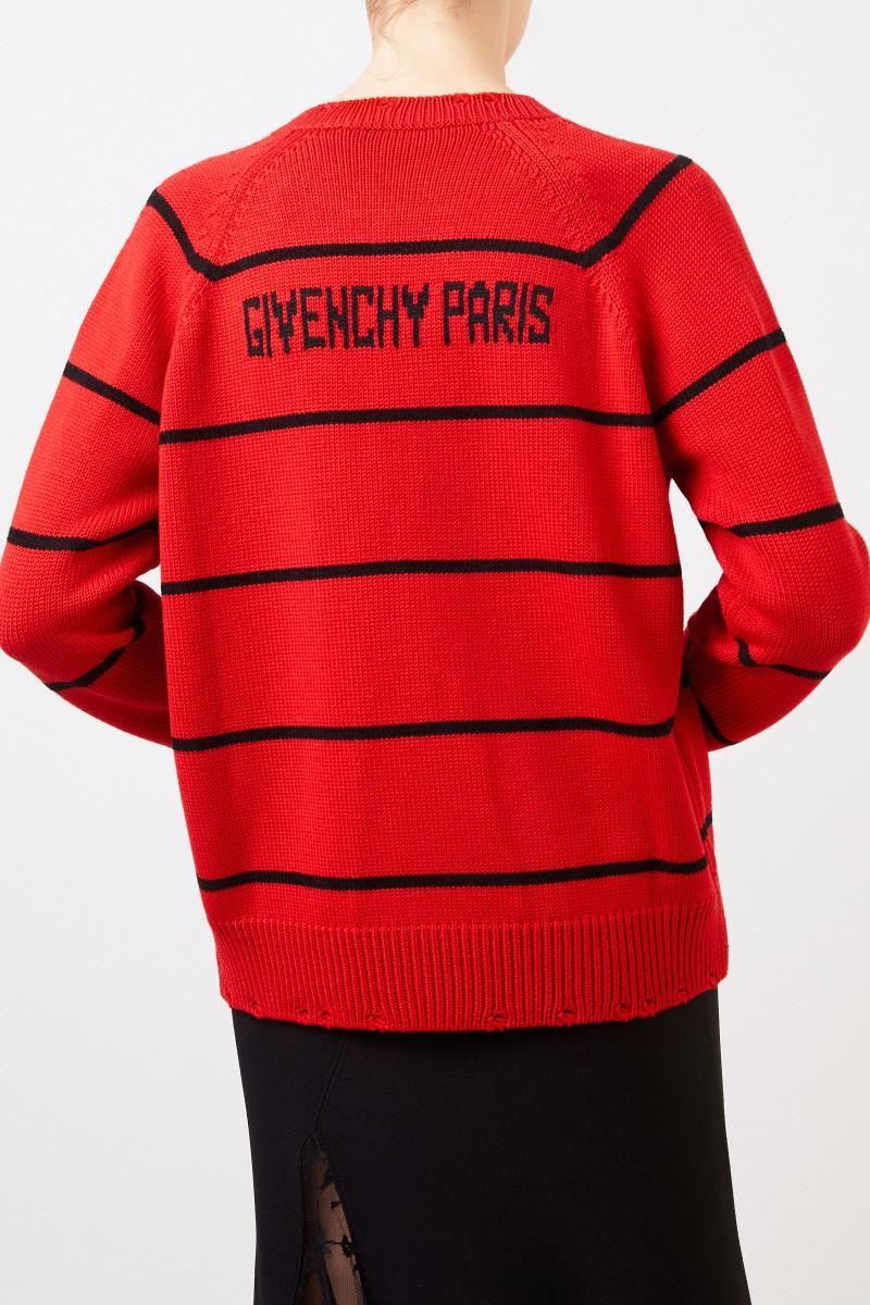 Givenchy Gestreifter Woll-Pullover mit Logo-Detail Rot/Schwarz