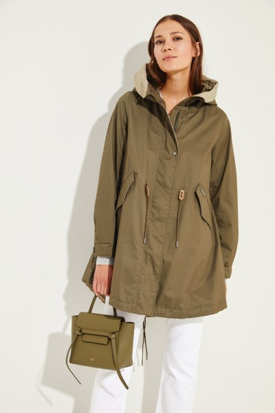 Cotton parka with hood Green
