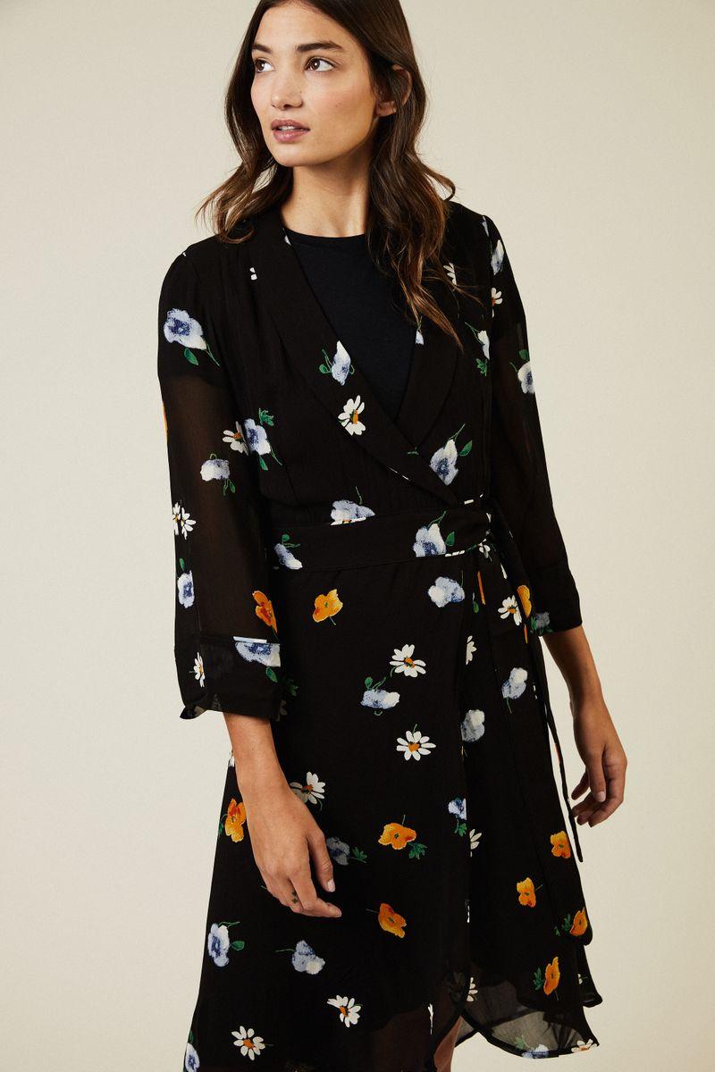 Wickelkleid mit floralem Print Schwarz