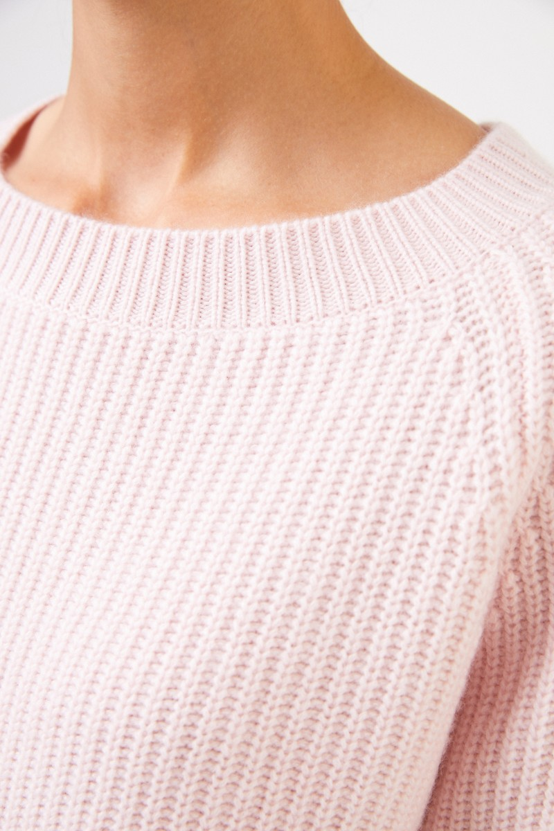 Uzwei Rippstrick-Cashmere-Pullover Rosé
