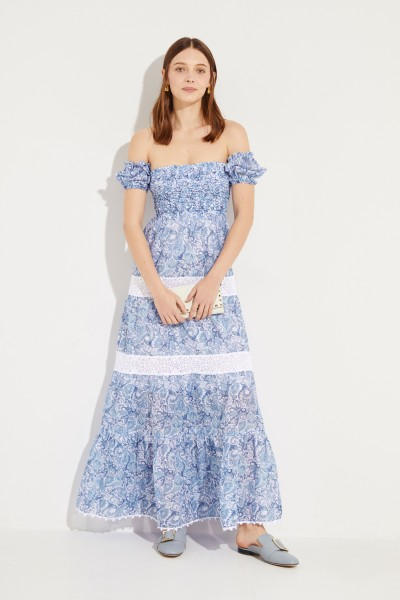 Long dress with print and embroidery Blue/White