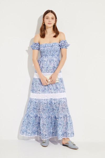 Langes Kleid mit Print und Stickerei Blau/Weiß