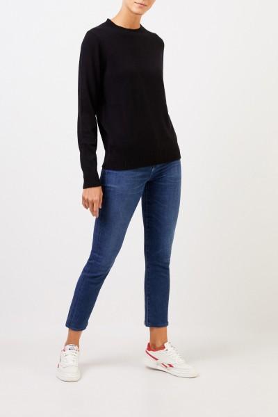 Uzwei Cashmere-Pullover mit Rippstrickkragen Schwarz