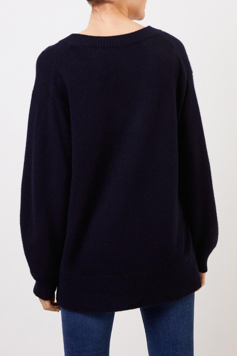 Vince Langer Cashmere-Pullover mit V-Neck Marineblau