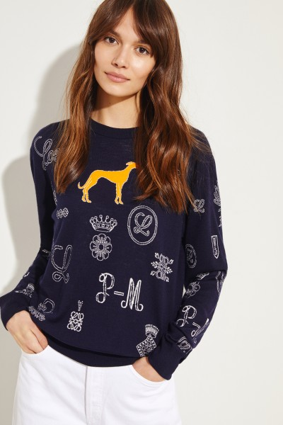Woll-Pullover mit Muster Navy/Multi