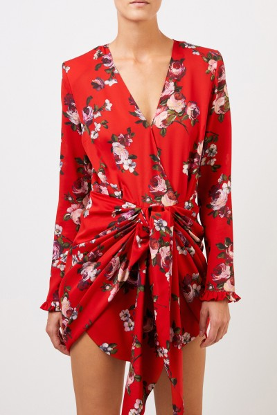 Magda Butrym Silk dress 'Lesina' with tie detail Red/Multi