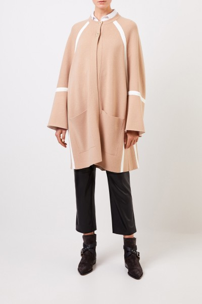 Chloé Wool knit coat with stripe details Barley Brown