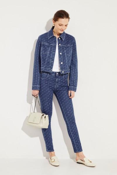 Skinny Jeans mit Logo-Print Blau