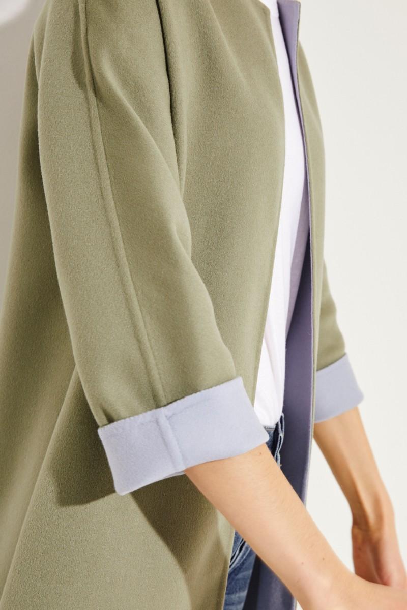 Wende-Woll-Mantel Blau/Grün