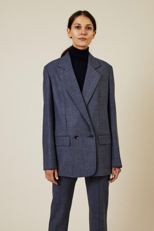 Woll-Blazer 'Spreyley' Grau/Blau
