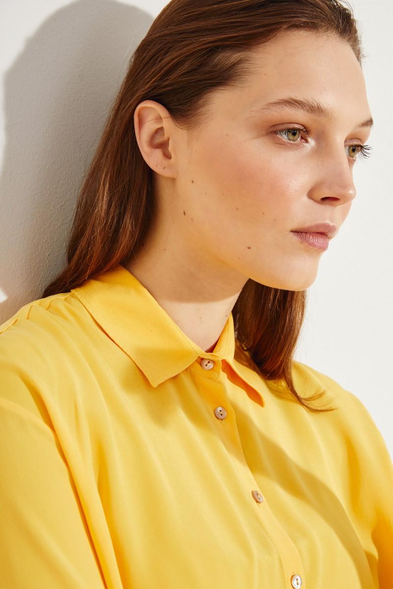 Oversize Seiden-Bluse 'Liana' Gelb